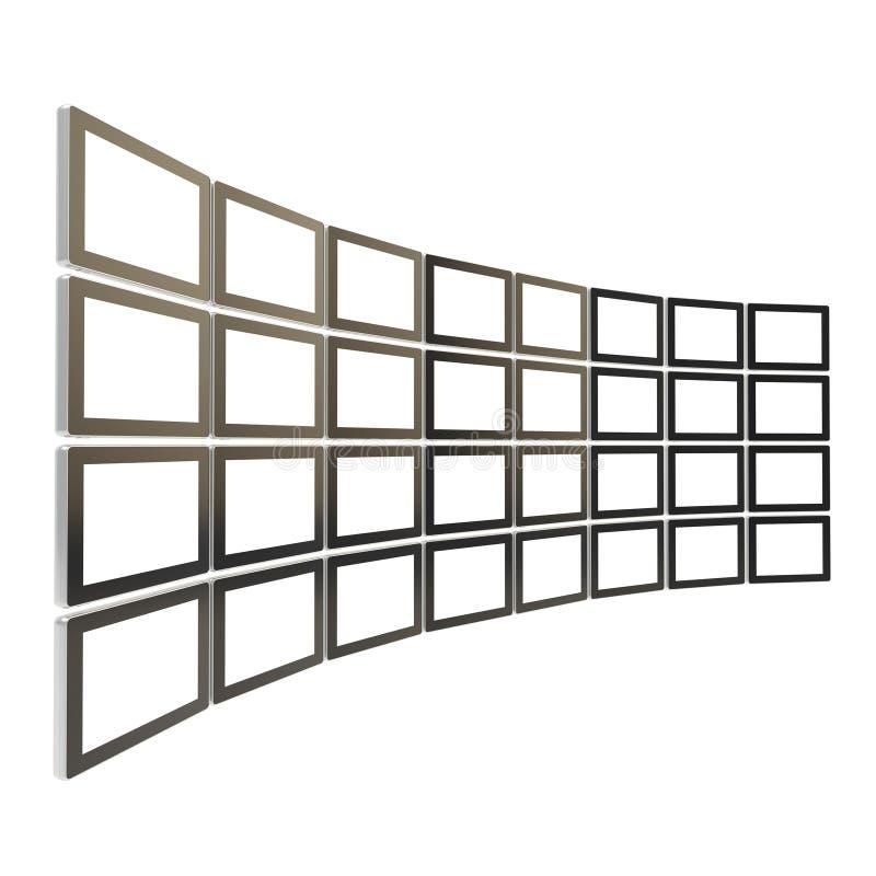 Grande bloco da tela da tevê feito dos dispositivos da tabuleta isolados ilustração do vetor