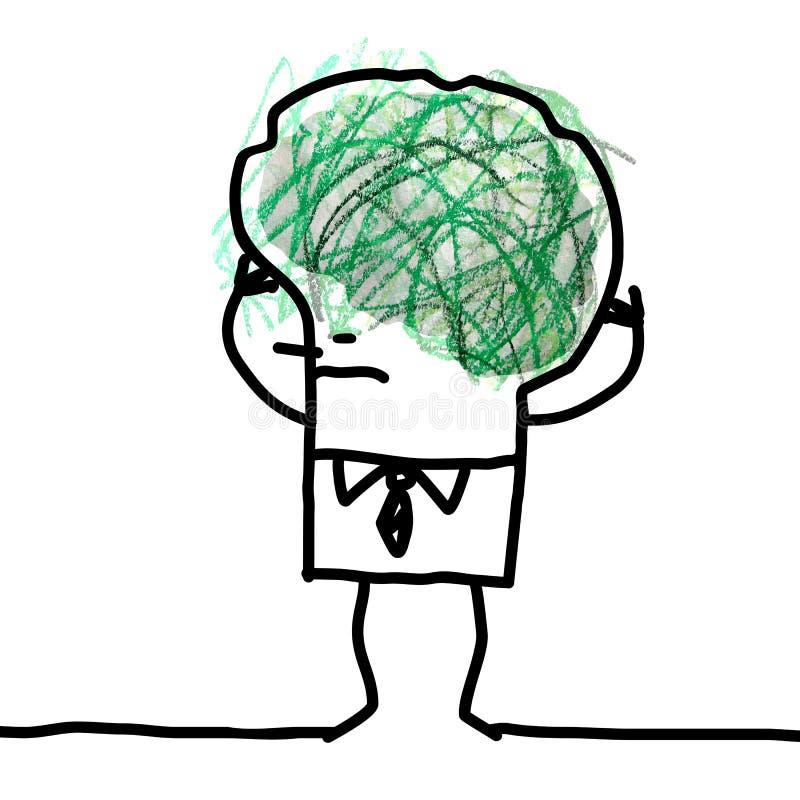 Grande Brain Man - scarabocchio e confusione illustrazione di stock