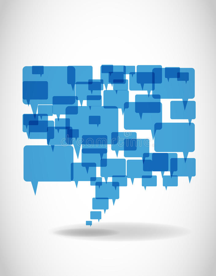 Grande bulle bleue abstraite de la parole illustration de vecteur