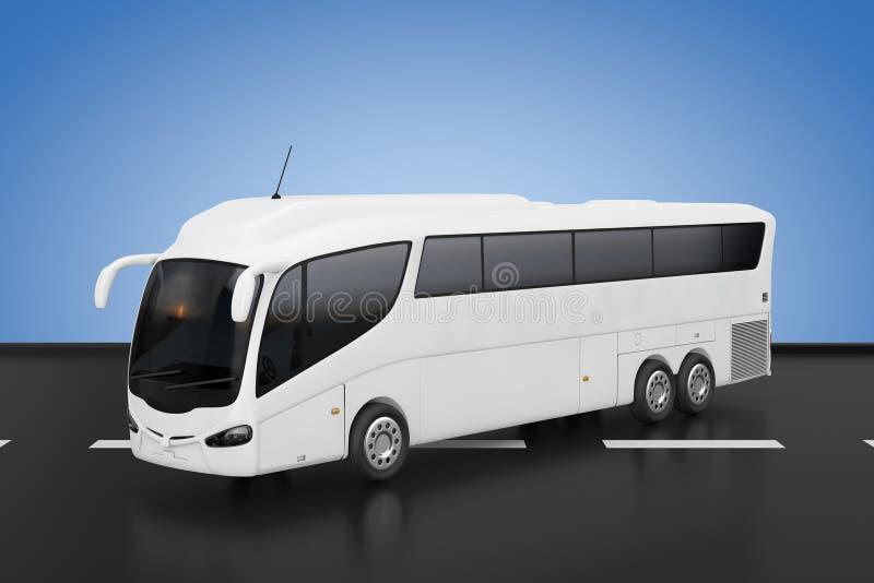 Grande bus bianco di viaggio di Tour Inter City della vettura rappresentazione 3d illustrazione vettoriale