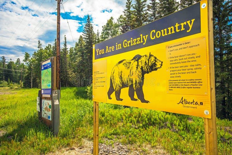 Grande Cache Alberta Canada on June 22, 2018 warning of Grizzlybaer. In Grande Cache stock photo