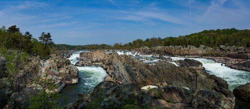 Grande cachoeira das quedas no Rio Potomac em Virgínia EUA imagens de stock royalty free