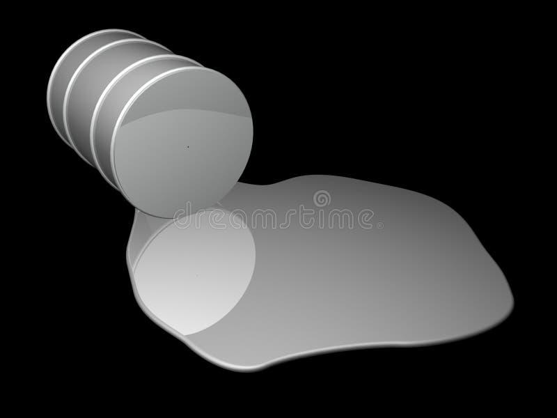 Grande caduta del tamburo di olio sul nero illustrazione vettoriale