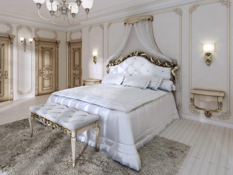 Grande cama de quatro colunas clássica e cobertor branco macio com comprimido ilustração stock
