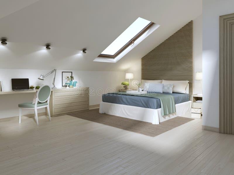 Grande camera da letto sul pavimento della soffitta in uno stile moderno illustrazione vettoriale