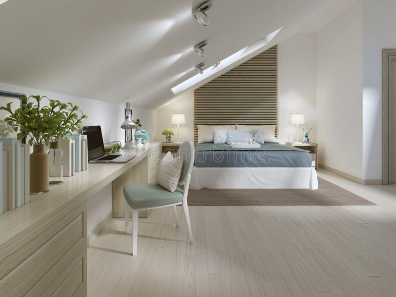 Grande camera da letto sul pavimento della soffitta in uno stile moderno illustrazione di stock - Camera da letto grande ...