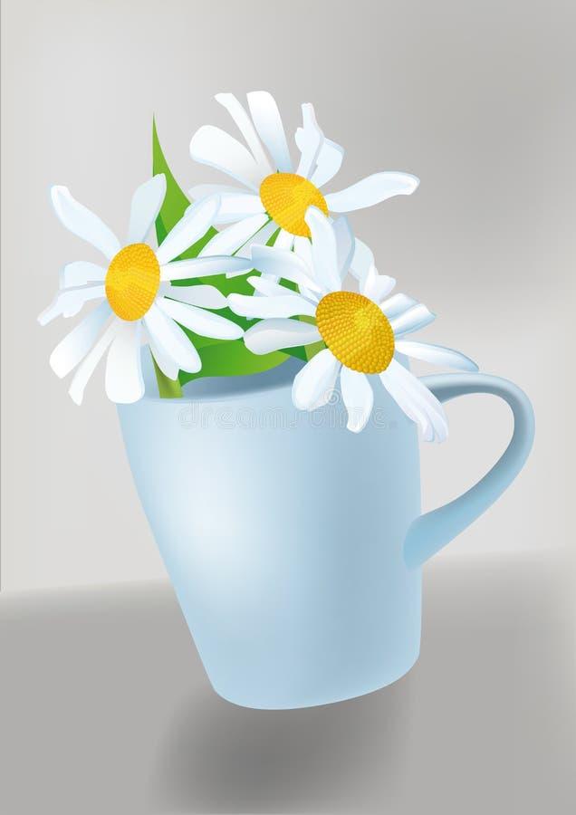 Grande camomilla bianca in una tazza royalty illustrazione gratis