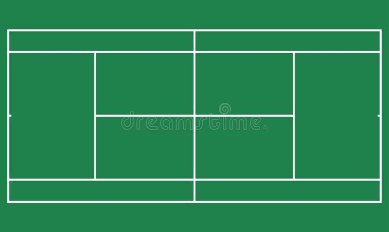 Grande campo verde piano di tennis, punto di vista superiore del campo da tennis con la linea modello Stadio di vettore illustrazione di stock