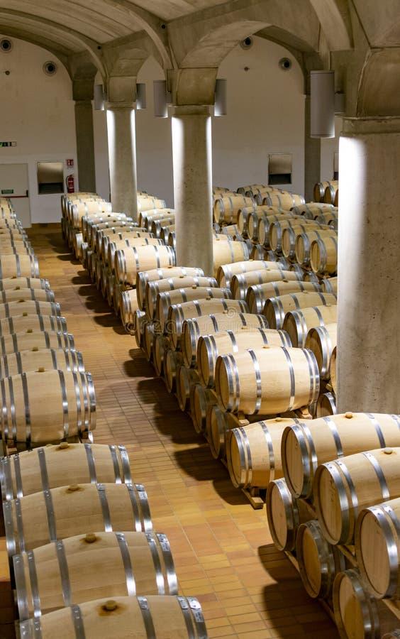 Grande cantina con i vecchi barilotti della quercia, produzione di vino dolce asciutto o rosso in Marsala, Sicilia, Italia fotografia stock libera da diritti