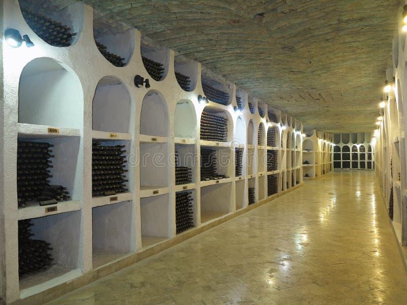 Grande cantina sotterranea con la raccolta delle bottiglie immagini stock libere da diritti
