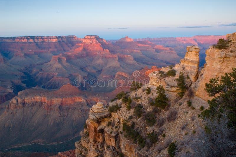 Grande canyon NP al tramonto fotografia stock libera da diritti