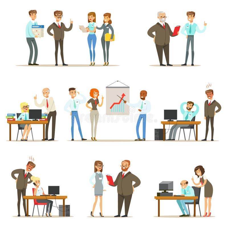 Grande capo Managing And Supervising il lavoro della raccolta degli impiegati di ufficio del direttore generale And Workers Illus illustrazione di stock