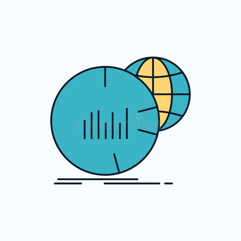 Grande, carta, datos, mundo, icono plano infographic muestra y s?mbolos verdes y amarillos para la p?gina web y el appliation m?v libre illustration