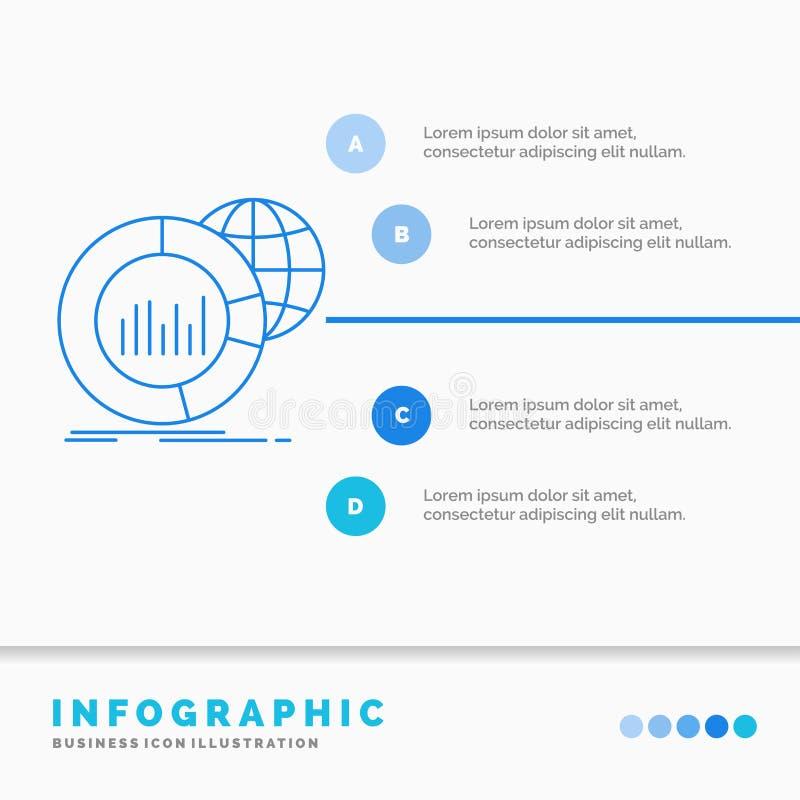 Grande, carta, datos, mundo, plantilla infographic de Infographics para la p?gina web y presentaci?n L?nea vector infographic del stock de ilustración