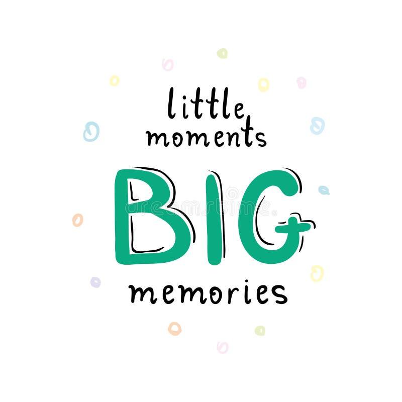Grande carte ou affiche de mémoires de petits moments illustration de vecteur
