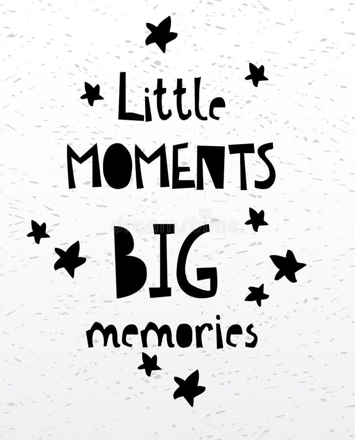 Grande carte ou affiche de mémoires de petits moments Citation manuscrite inspirée et de motivation de lettrage illustration libre de droits