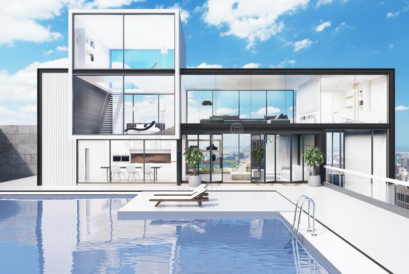 Grande casa bianca con una piscina illustrazione vettoriale