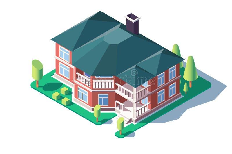 grande casa comoda isometrica 3d con l'albero, il prato inglese ed il balcone verdi royalty illustrazione gratis