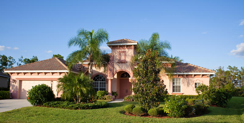 Grande casa tropicale in Florida fotografie stock