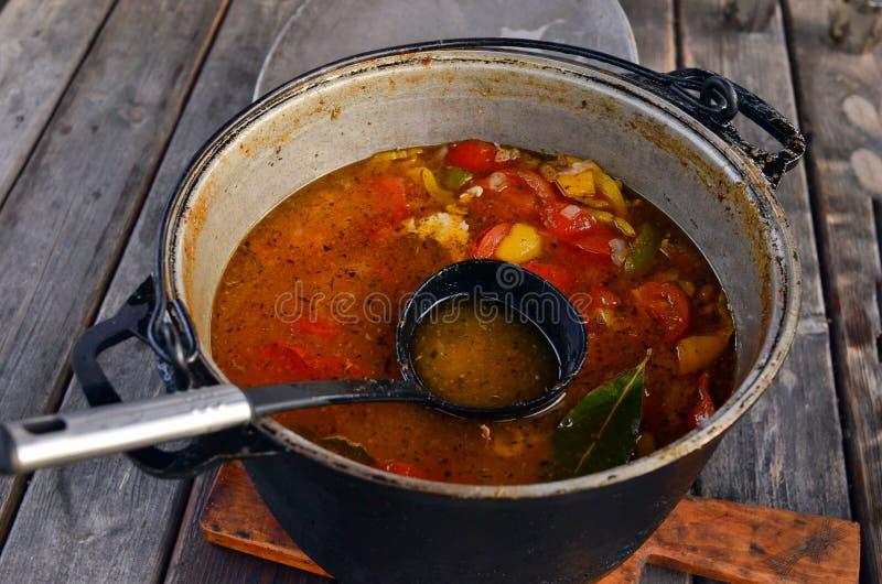 Grande casseruola con la siviera nera e la minestra gastronomica con i pomodori ed i peperoni fotografia stock libera da diritti