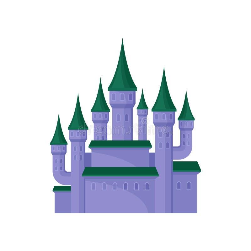 Grande castelo roxo Palácio real com torres altas e os telhados cônicos verdes Elemento liso do vetor para o jogo móvel ilustração royalty free