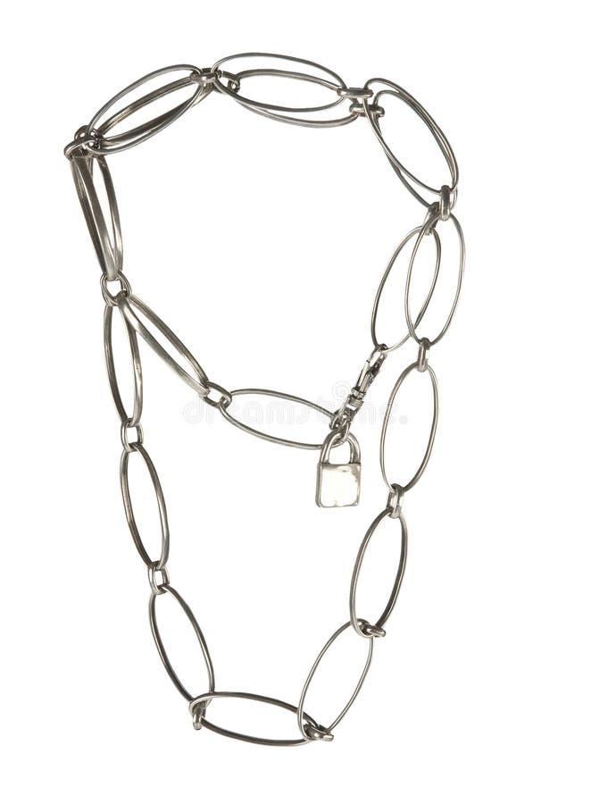 Grande catena a maglia del metallo con il lucchetto immagine stock