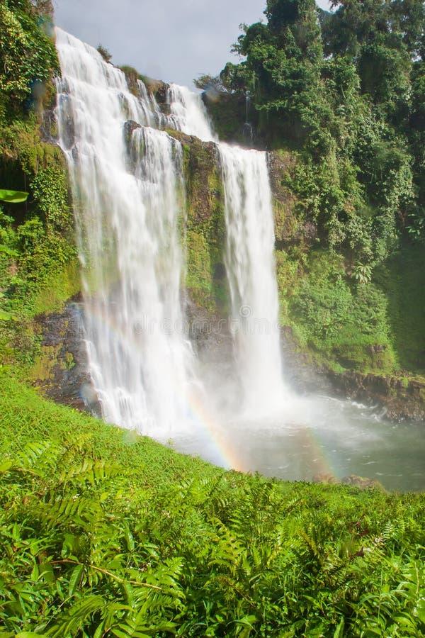 Grande cenário da cachoeira com um arco-íris Tad Yuang, cachoeira dramática deixa cair 40 medidores sobre um penhasco e uma flore fotos de stock