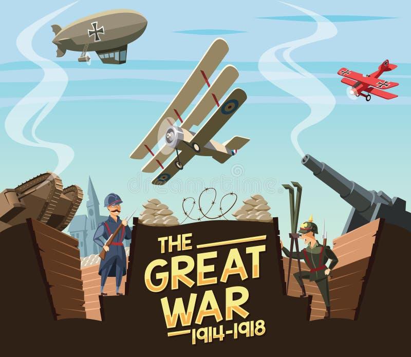 A grande cena da guerra ilustração royalty free