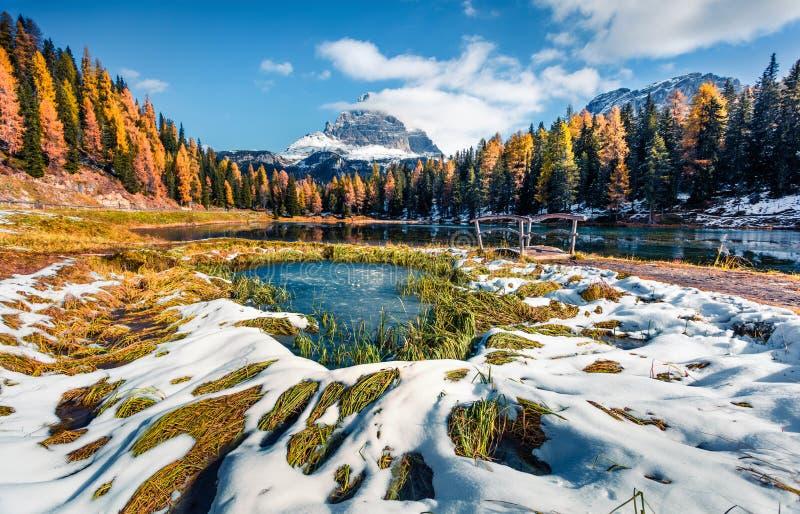 Grande cena ensolarada no lago Antorno com a montagem Tre Cime di Lavaredo Drei Zinnen Paisagem colorida do outono nos Alpes Dolo imagens de stock