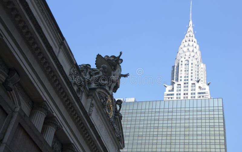 Grande centrale e Chrysler che costruiscono in New York immagini stock libere da diritti