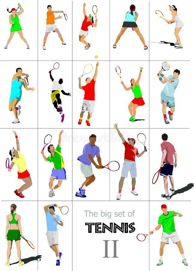 Grande cet # II de jugadores de tenis , stock de ilustración