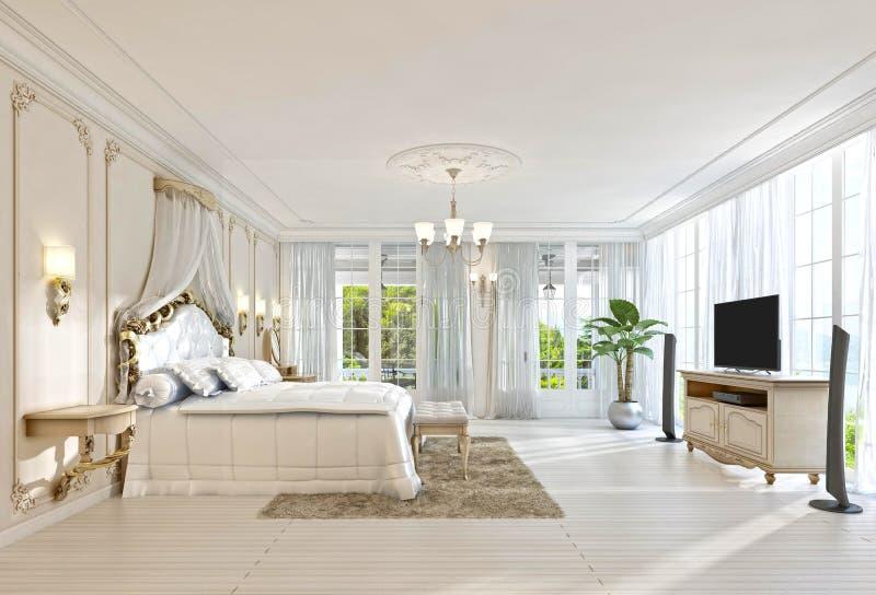 Download grande chambre à coucher avec windows panoramique et de belles vues illustration stock illustration