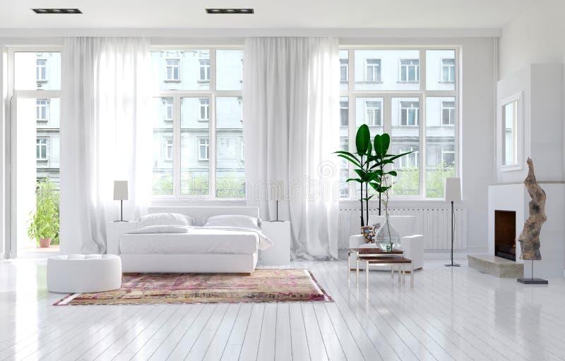 Grande chambre à coucher spacieuse avec la cheminée illustration de vecteur