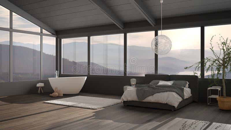 Grande chambre de luxe panoramique avec fenêtres sur la vallée de la montagne, lit double avec couette, tables de chevet avec lam images libres de droits