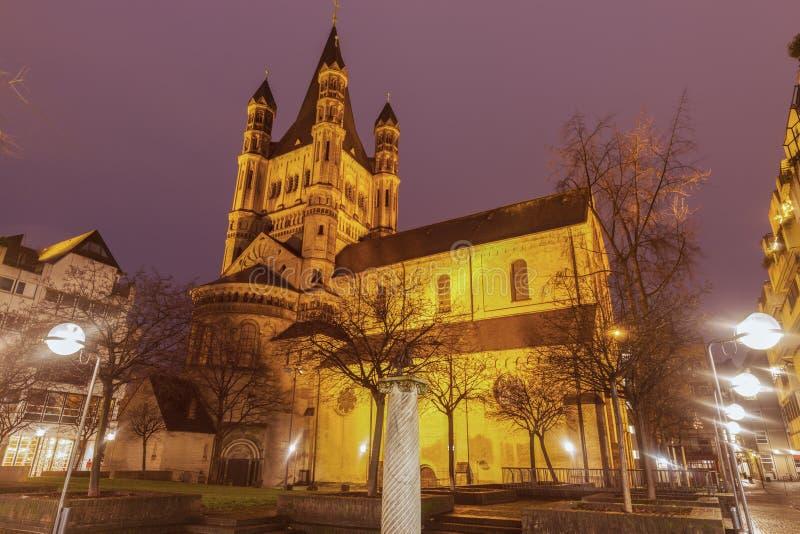 Grande chiesa di St Martin in Colonia immagine stock libera da diritti