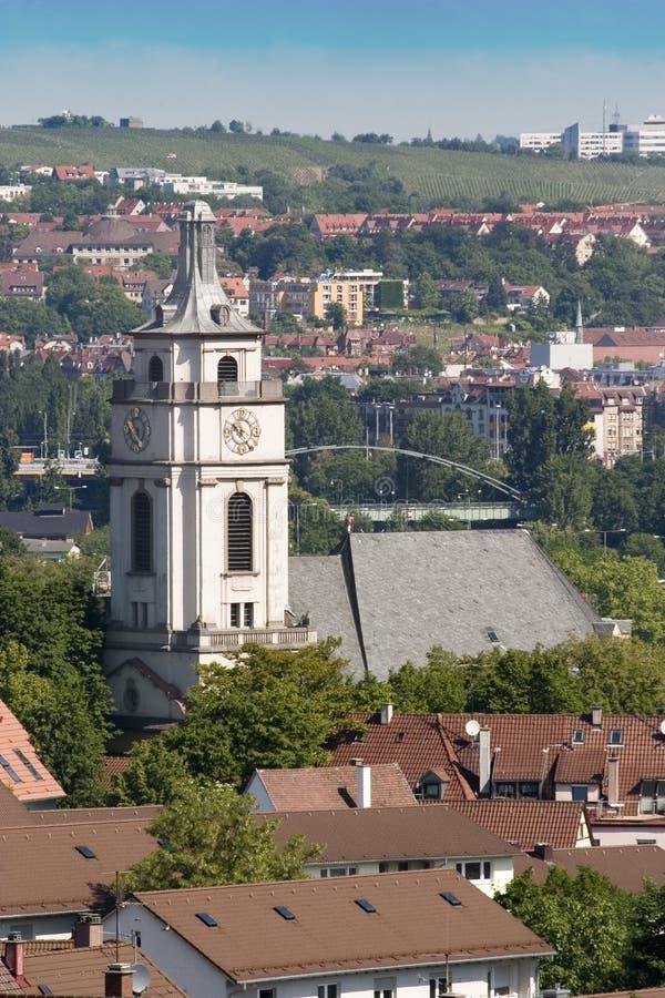 Grande chiesa a Stuttgart immagini stock libere da diritti