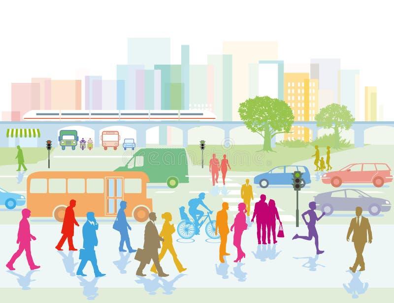 Grande città con la gente sulle vie illustrazione di stock