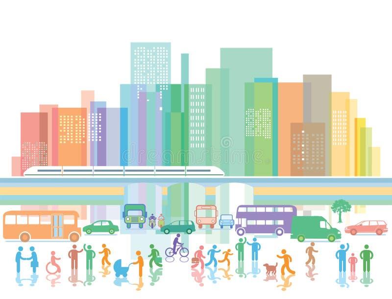 Grande città con traffico stradale e della gente illustrazione di stock
