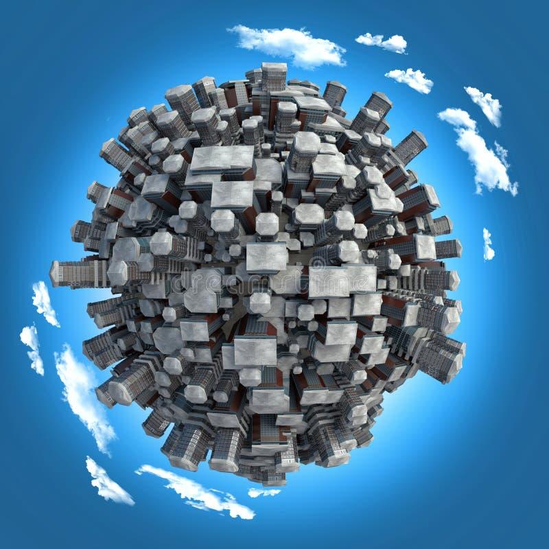 Grande città sul piccolo pianeta illustrazione vettoriale