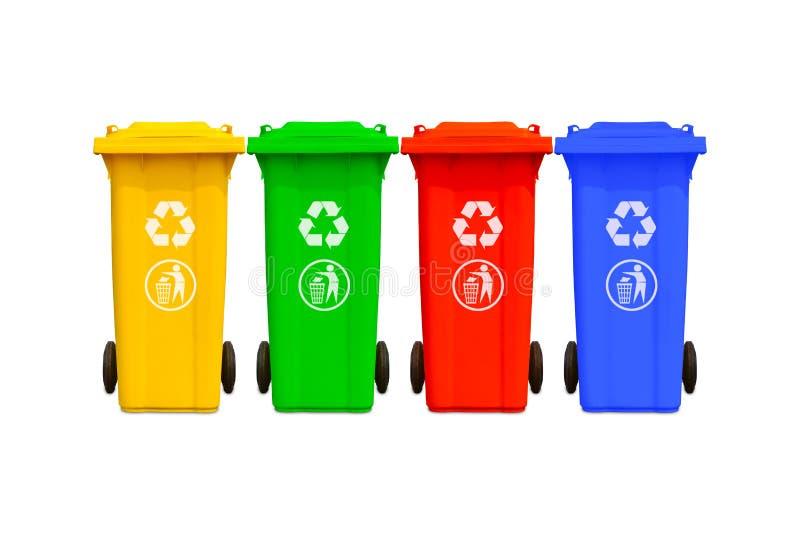 Grande coleção colorida dos baldes do lixo imagem de stock