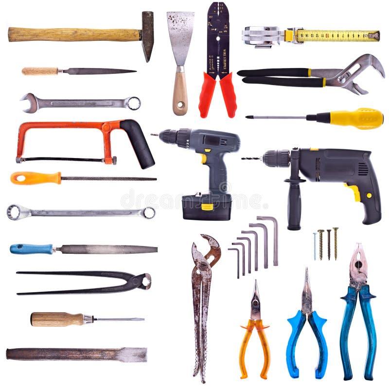 Grande coleção de ferramentas usadas fotos de stock royalty free