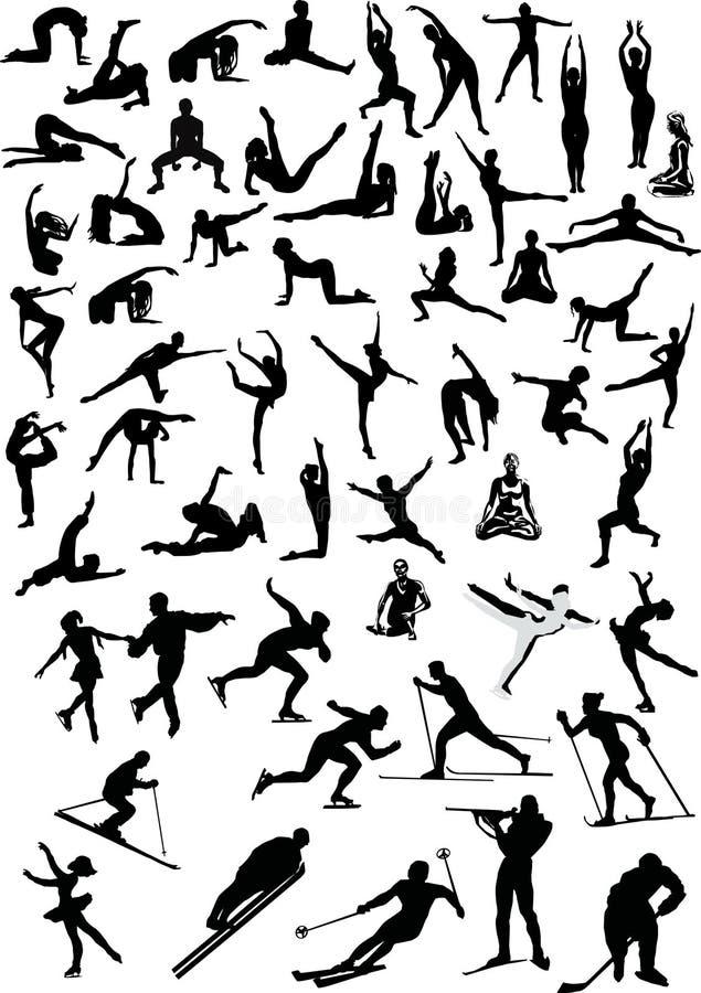 Grande coleção dos desportistas ilustração stock