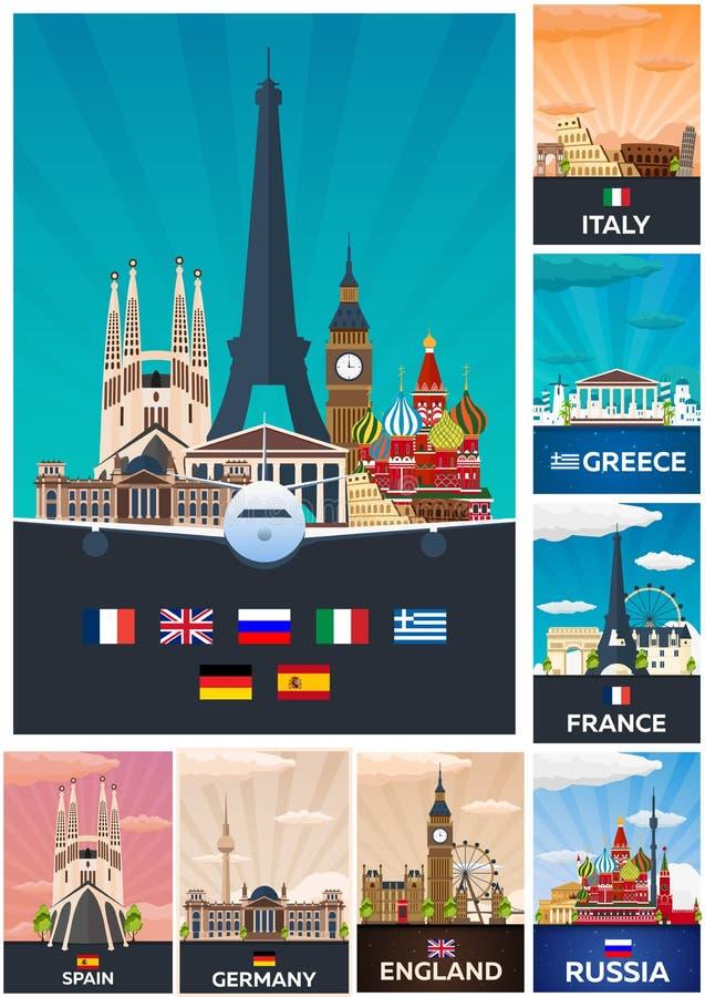 Grande collection d'affiches de voyage vers l'Europe Schengen Illustration plate de Vecor illustration libre de droits