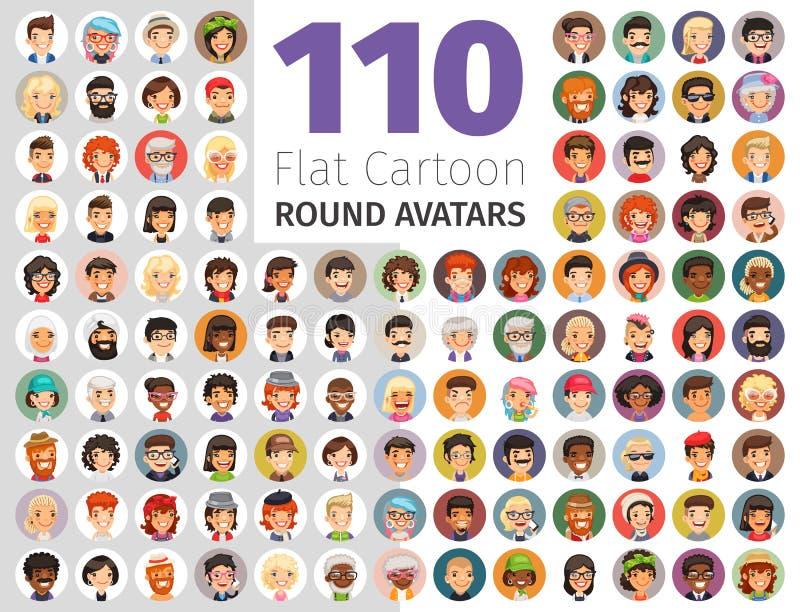 Grande collection d'avatars ronds plats de bande dessinée illustration de vecteur