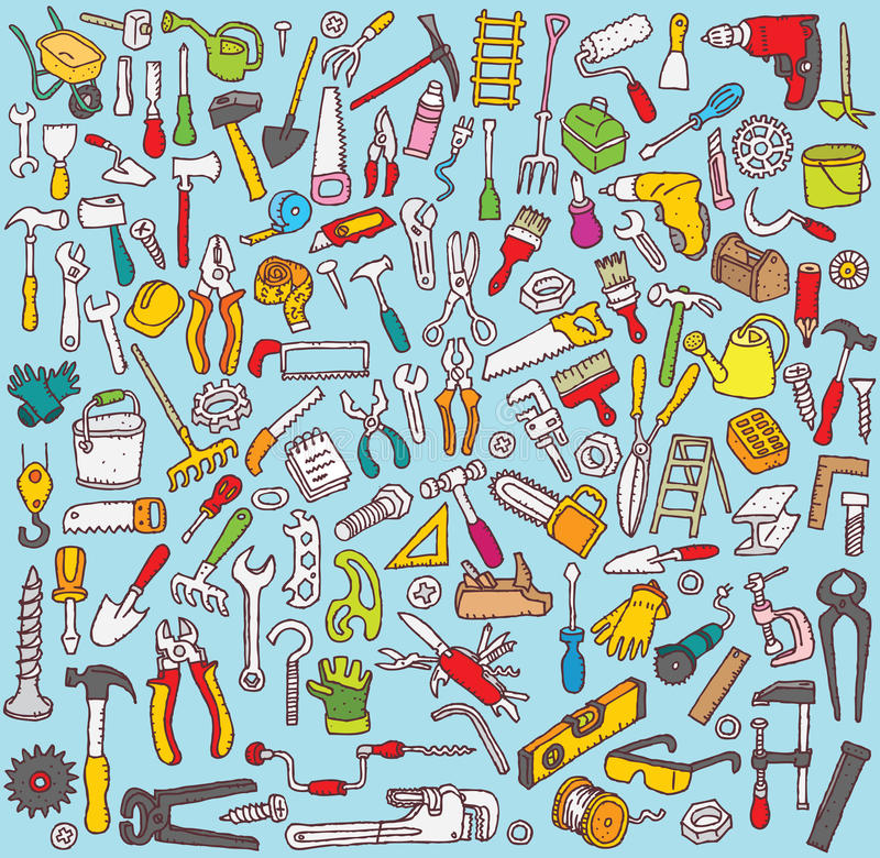 Grande collection d'outils illustration stock