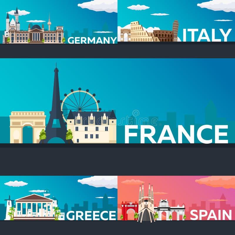 Grande collection de bannières de voyage vers l'Europe Schengen Illustration plate de Vecor illustration de vecteur