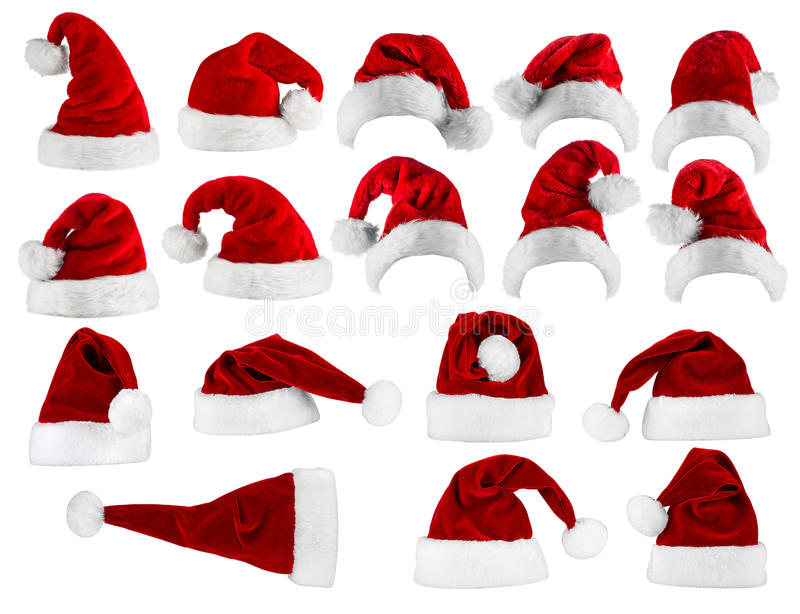 Grande collection de chapeau de Santa photos stock