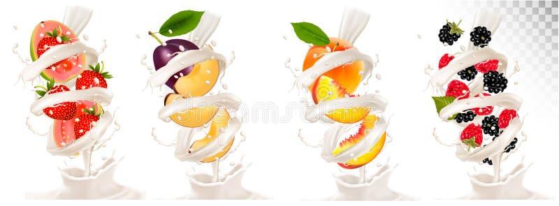 Grande collection de fruit dans une éclaboussure de lait illustration stock