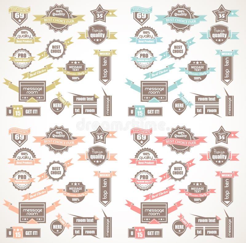 Grande collection de labels de qualité avec la version de 4 couleurs illustration libre de droits