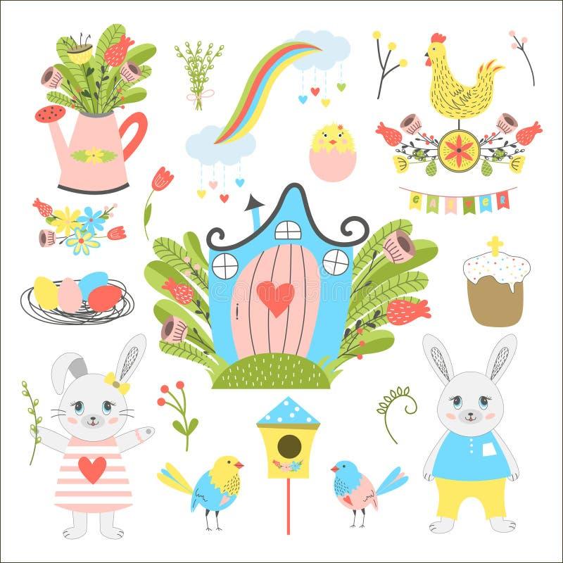 Grande collection de Pâques illustration stock